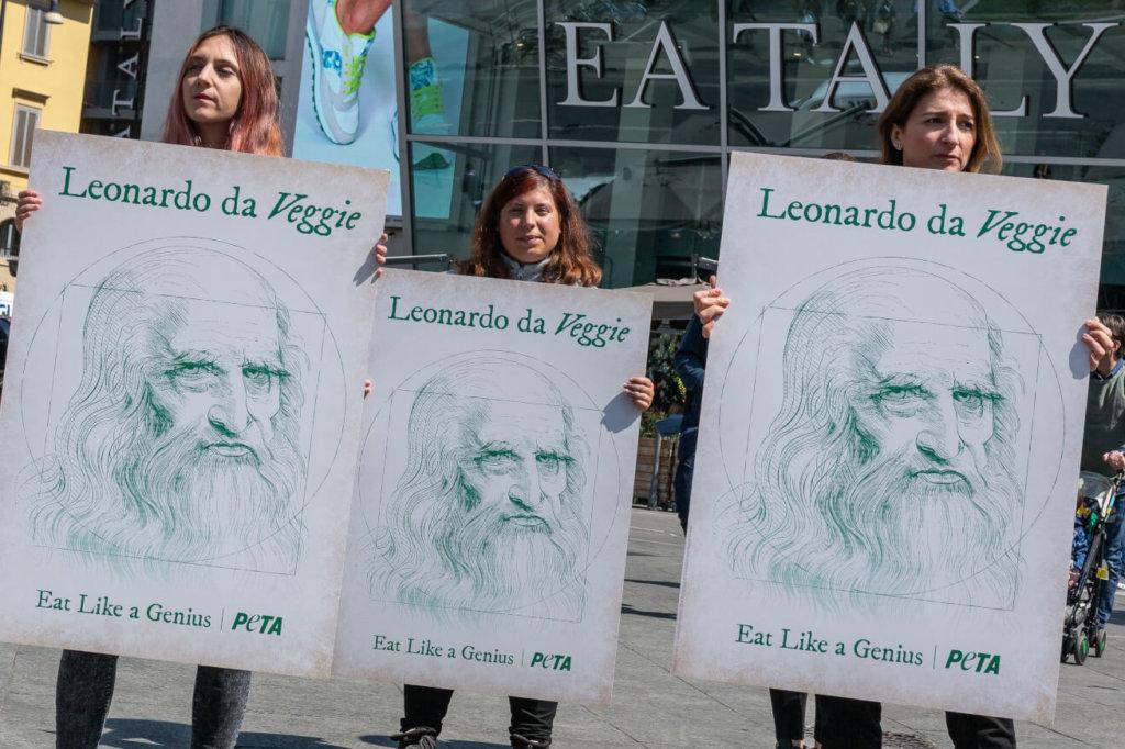 peta supporters celebrate leonardo da veggie