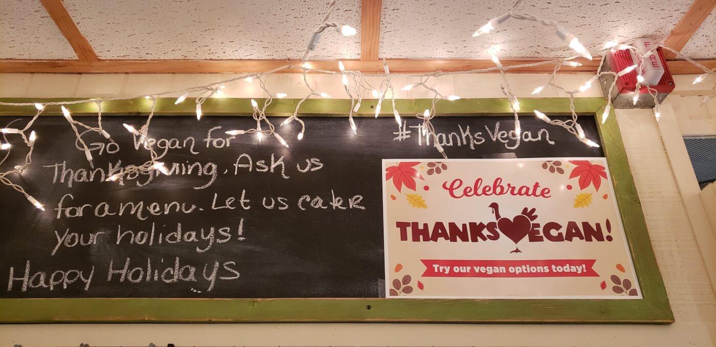 thanksvegan sign for restaurants