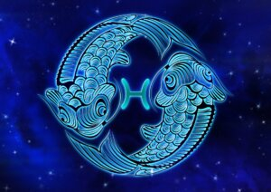 two fishes swimming around pisces symbol
