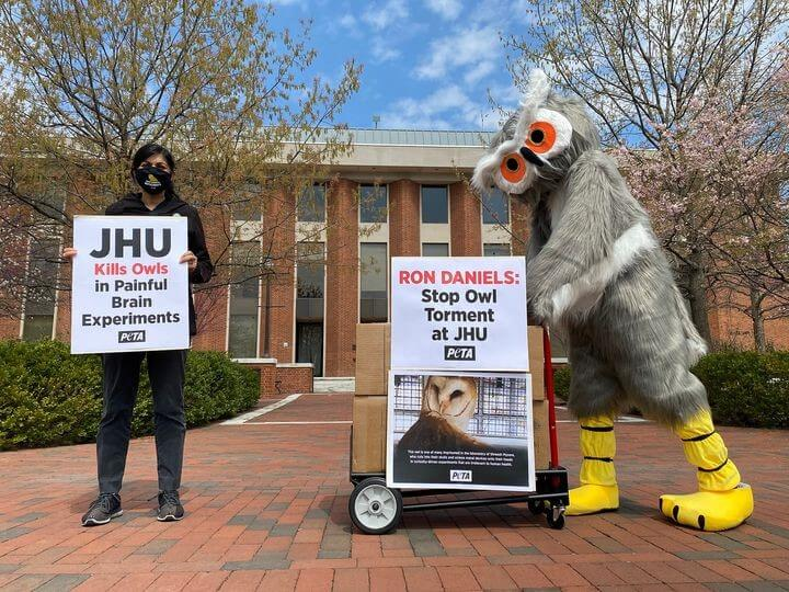 peta supporters deliver petitions to jhu