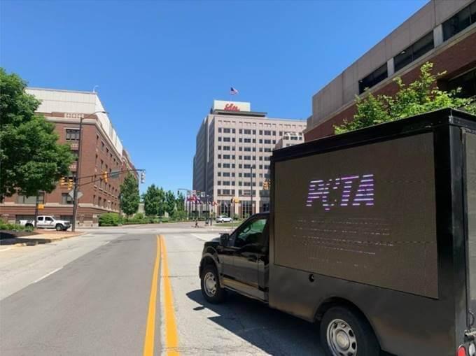 PETA mobile billboard drives around Indianapolis