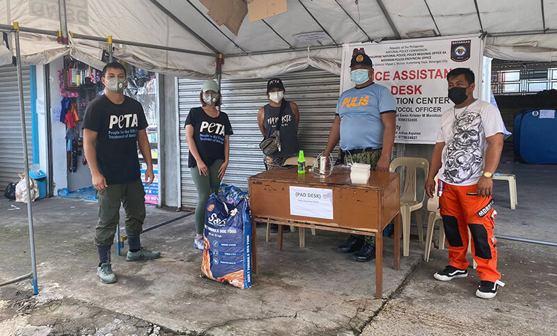 PETA Asia supplies evacuation centers around the Taal Volcano with food.
