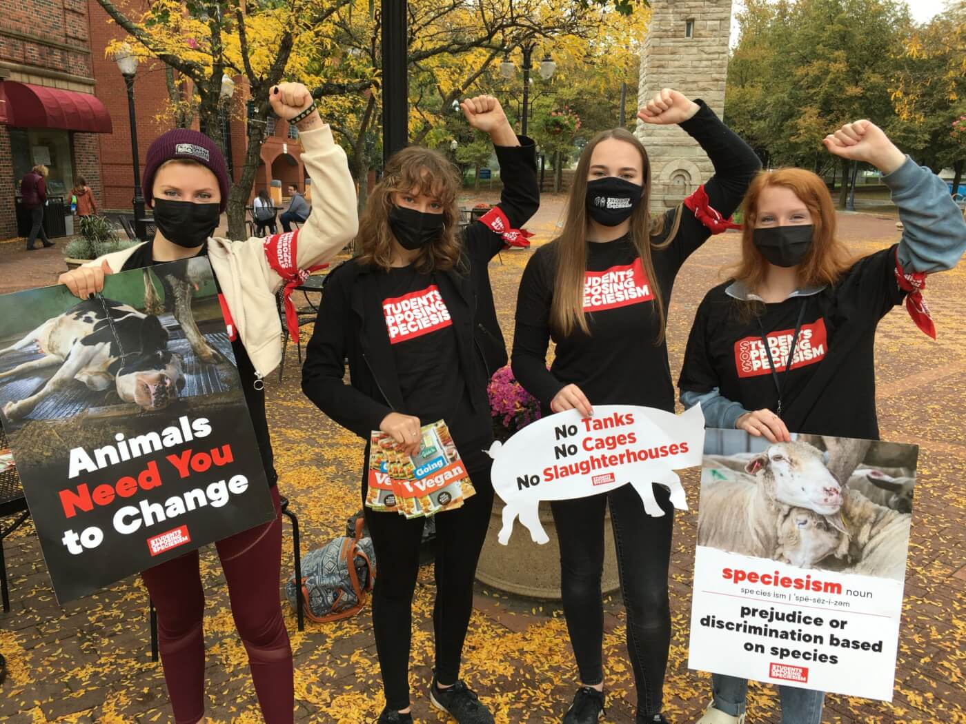 Student protesting speciesism with Students Opposing Speciesism